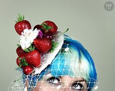 Fun Quirky Pinup Vintage Retro Kitsch Pinup Strawberries and Cream Cupcakes Fascinator Crazy Hair Day At School, Crazy Hair Days, Fascinator Hats, Headpiece, Fascinators, Strawberry Art, Crazy Hats, Dapper Day, Strawberries And Cream
