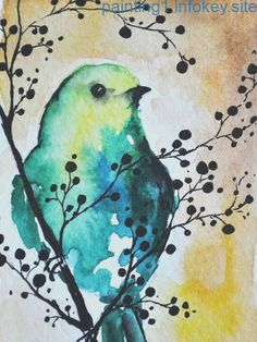 Original watercolor and ink ACEO Green Bird in one by AbstractArtM . - Heart - Original watercolor and ink ACEO Green Bird in one by AbstractArtM Le maquillage est un - Watercolor Animals, Watercolor And Ink, Watercolor Paintings, Watercolor Trees, Watercolor Artists, Watercolor Portraits, Watercolor Landscape, Watercolours, Art Paintings