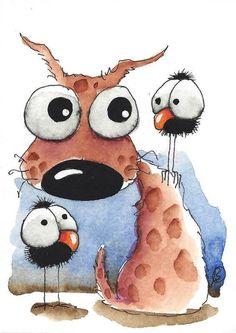 ACEO Original watercolor art painting whimsical brown dog big eyed crow bird  #IllustrationArt #watercolorarts