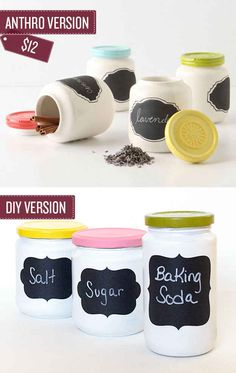 Turn old jars into chalkboard spice jars. | 38 Anthropologie Hacks