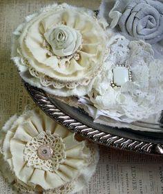Tattered Rose Pin or Gift Topper Handmade by CottonRidgeEmporium