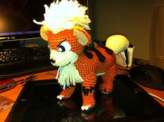 This is the first pattern I ever came up with! I was looking around for a Growlithe amigurumi pattern but couldn't find one that I liked. I had made several other quadrupeds before so I thought I'd adapt it to suit growlithe.