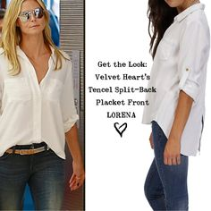 Get the LOOK! You can never have too many #CLASSIC white shirts! The Lorena available now at www.velvetheart.com
