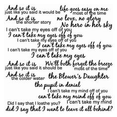 Damien rice the blower's daughter lyric art ❤ liked on Polyvore featuring home, home decor and wall art