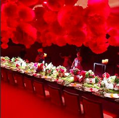 A dramatic display of bold lanterns and florals.