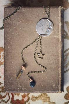 celestial sky.  a long boho moon trinket necklace. on Etsy, $42.00