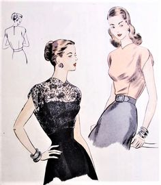 1940s BEAUTIFUL Day or Evening Blouse Pattern VOGUE 6205 Tuck In Blouse Cap Sleeve Perfect For Lace Fabrics Bust 34 Vintage Sewing Pattern