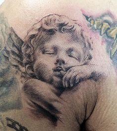 little cherub tattoo Hot Tattoos, Unique Tattoos, Beautiful Tattoos, Body Art Tattoos, Girl Tattoos, Tattoos For Women, Flower Tattoos, Cherub Tattoo, Mom Tattoo Designs