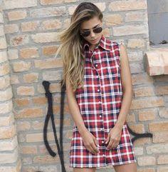 colete e vestido xadrez | times square vermelho | coleteria in the city