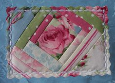 Shabby Chic Quilted Fabric Postcard by diddle daddle designs~but I would like to make a mug rug like it! Fabric Cards, Fabric Postcards, Small Quilts, Mini Quilts, Shabby Chic Quilt Fabric, Quilting Projects, Sewing Projects, Diy Postcard, Quilt Labels