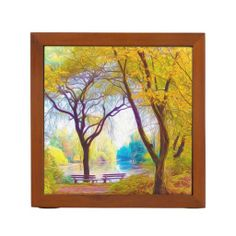 A View Of A Park And Lake During Autumn Season Pencil Holder