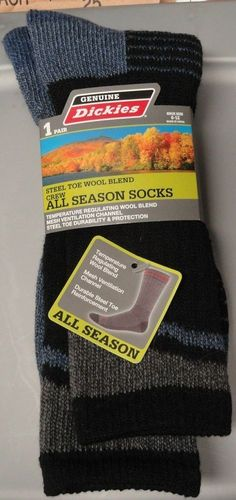DICKIES Mens 6-12 All Season 1 pair Crew Socks New Blue Black Steel Toe Wool #Dickies #Athletic