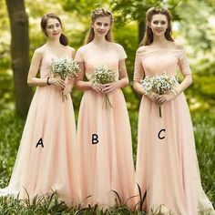 Impressive Mismatched Sweet Heart Chiffon Top Lace Short Sleeve Straight Neck Half Sleeve Cheap Bridesmaid Dresses, WG89