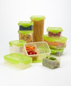 This high-tech storage set was crafted from BPA-free plastic that utilizes FDA-approved Nano Silver Technology to reduce bacteria growth and allow foods to stay fresh up to three times longer. Coordinating airtight and watertight silicone-sealed lids lock in freshness and prevent leaks.