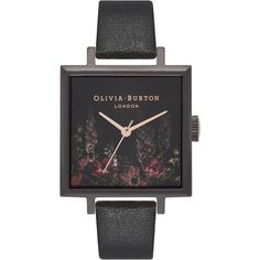 Women's Oliva Burton After Dark Floral Big Square Leather Strap Watch,... (8.430 RUB) ❤ liked on Polyvore featuring jewelry, watches, dark jewelry, floral watches, floral jewellery, olivia burton watches and square watches