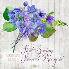 Spring Bouquet Watercolour Clipart. Hand painted flowers hepatica, wedding diy elements, invite