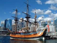 May 2, 2008: HMS Bark Endeavour at the Australian National Maritime Museum, Sydney, Australia.