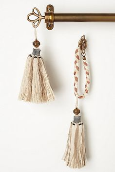 "Bombay Tassel Finials - anthropologie.com | brass, cotton, jute | 12"" long 