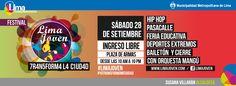 La Municipalidad de Lima los invita a pasar un día lleno de arte, música, baile y deportes para celebrar el mes de la juventud en la Plaza de Armas de Lima. Los esperamos desde las 10 de la mañana. Aquí el link del evento: https://www.facebook.com/events/409735099126702/?ref=22