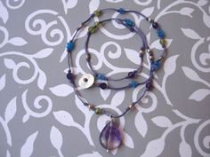 Purple Yoga Necklace with Amethyst, Peridot, Jade and Silver Beads by INOMINOS
