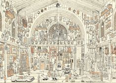 Exploring sketches and artworks by freelance illustrator Mattias Adolfsson (previously here and here) is an exercise in discoverey with a twist of insanity. The pieces are almost impossible to take in all at once, and represent a collection of bizarre stories, exaggerated character