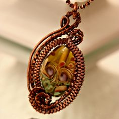 Stunning Wire Woven Antiqued Copper Pendant Featuring Lampwork Glass! by dficreations on Etsy
