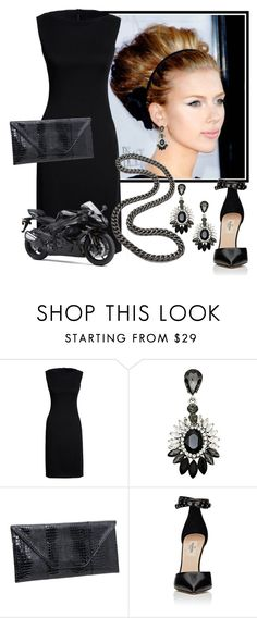 """""""A Biker Babe Goes Out"""" by shoppe23 on Polyvore featuring Canvas by Lands' End, LG, Valentino, Kawasaki, LBD, statementnecklaces and Shoppe23"""