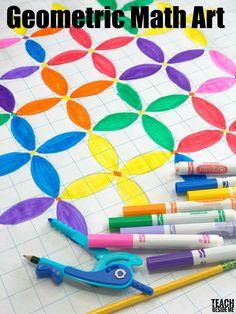 Geometric Math Art with Circles- Fun STEM / STEAM project for Kids via @karyntripp