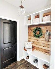 """took a risk and painted her doors a sleek black. """"I was soo nervous to go against the norm but I really love the… recover deleted photos android 2020 Hallway Ideas Entrance Narrow, Modern Hallway, Flur Design, Better Homes, Entryway Decor, Foyer, Mudroom, My Dream Home, Home Projects"""
