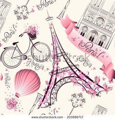 Illustration of Paris symbols seamless pattern. Romantic travel in Paris. Vector vector art, clipart and stock vectors. Vintage Paris, Paris Amor, Thema Paris, Illustration Parisienne, Paris Kunst, Art Parisien, I Love Paris, Paris Eiffel Tower, Paris Travel