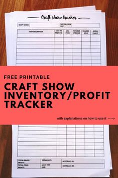 Free printable craft show inventory / profit tracker to make vendors life easier. No need to write down sales while you're on the craft show. Everything is done before and after allowing you enjoy the event and sales process. Also check out other free pri Craft Show Booths, Craft Fair Displays, Craft Show Ideas, Display Ideas, Craft Fair Ideas To Sell, Booth Ideas, Displays For Craft Shows, Fall Craft Fairs, Crafts To Sell