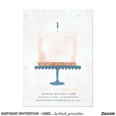 BIRTHDAY INVITATION - CAKE AND CANDLE