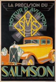 Vintage Cars Salmson Automobile Car Advertisement Art Poster Print - I really like the color combo in this one. Art Deco Posters, Car Posters, Poster Prints, Art Print, Giclee Print, Art Deco Illustration, Retro Poster, Poster Vintage, Vintage Advertisements