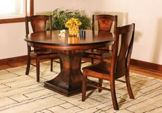 Define your dining room ensemble by centering an Amish dining table on a sculpted pedestal in your dining area. Get the Westin Amish Dining Room Set. Dining Room Furniture Sets, Dining Room Sets, Fine Furniture, Dining Room Design, Amish Furniture, Furniture Projects, Pedestal Dining Table, Dining Table Chairs, Round Dining
