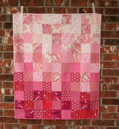 Modern Pink Ombre Baby Girl Quilt by QuiltsByEmily on Etsy