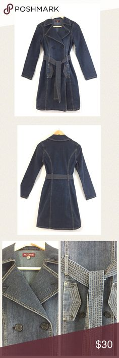 """🆕 Denim jean coat Classic styling and flattering cut on this dark blue double breasted denim coat with side pockets and sash. Beautiful stitching and wide lapels (lapel buttons removed). Excellent condition. 🔹Length 36"""" 🔹Bust 32"""" 🔹Waist area 28"""" 🔹Hip area 33"""" All measurements are approximate. Color is best reflected in photo #1 and #2. Fabric is cotton/poly/spandex blend so there is a little bit of stretch if needed. Hot Kiss Jackets & Coats"""