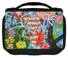 Earth Without Art is Just Eh TM Small Travel Sized Hanging Cosmetic/Toiletry Case with 3 Compartments and Detachable Hanger-Made in the U.S.A. ** More info could be found at the image url. (Note:Amazon affiliate link)