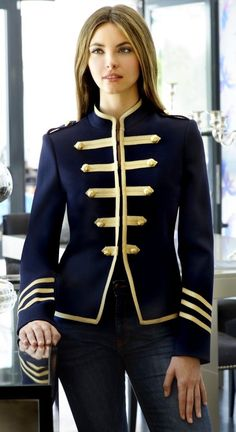 Casual Solid Gothic Coats, Jackets & Vests for Women for sale High Fashion, Winter Fashion, Womens Fashion, Marching Band Uniforms, Mode Costume, Military Style Jackets, Elegantes Outfit, Military Fashion, Cute Outfits