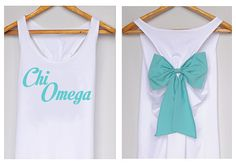 Chi Omega Tank Premium with Bow Dolly Bow by DollysBow Tau Gamma, Phi Sigma Sigma, Chi Omega Shirts, Alpha Chi Omega, Chi Omega Crafts, Flourish, Tiffany, College, Trending Outfits