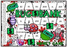 Each player moves around the board game and when landing on a space must identify the note or coin shown. They can then place the note or coin in their bug bank. The player with the most money at the end of the game wins.If you are looking for a harder version 'Bug Bank' is also available when students must count out the dollar amount shown.
