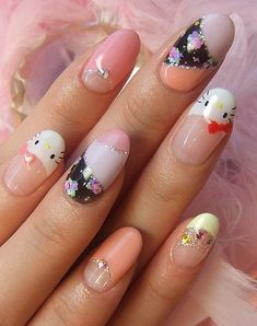 HK |❣| HELLO KITTY Nail Art