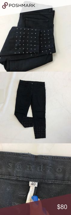 Sandro Black Denim Stud Jeans Sandro Black Denim Stud Jeans. French Size 40 which is considered a US size 8. Runs big. Good for a size 10 Sandro Pants Straight Leg