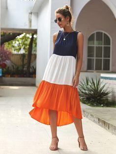 To find out about the Cut And Sew Asymmetric Hem Tank Dress at SHEIN, part of our latest Dresses ready to shop online today! Winter Dresses, Casual Dresses, Midi Dresses, Casual Outfits, Dress Cuts, Tee Dress, Babydoll Dress, Striped Dress, Colorblock Dress