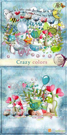 Scrap Set - Crazy Colors PNG and JPG Files
