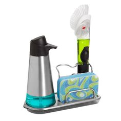 Stainless Steel Sink Organizer (get the soap dispenser and brush, too. on amazon, Good Grips has a sponge style brush) $14.99