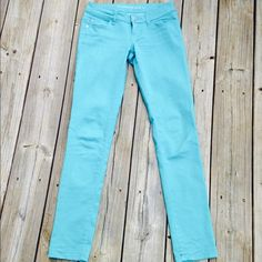 Teal denim pants Beautiful bright bluish green tight jeans or leggings. Purchased at a boutique in Athens, GA. In excellent condition. The material is very soft with a little stretch. Thanks for looking. Celebrity Pink Pants