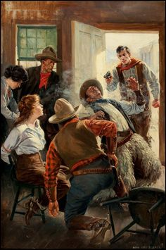 """pulp western art   Vintage Cool Illustrated • """"Saloon Shootout"""" by Anton Otto ..."""