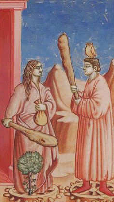 Two of Wands - Giotto Tarot by Guido Zibordi