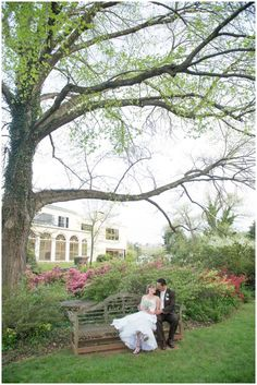 A special sweetheart moment under an ivy-covered tree at Airlie Center. www.airlie.com Trish + Kalani Airlie Center, Warrenton, Virginia wedding photography | Amberlee Christey Photography