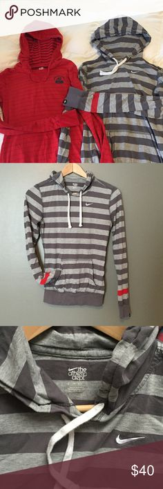 NIKE hoodie bundle ❄️ Two Nike Athletic Dept lightweight hoodies. Gray striped hoodie in GUC! Lightweight. Size XS and TTS. Red hoodie has a faded striped look. Lightweight. Size is labeled S but I believe can also fit an XS. ❗️Photo 5 shows small hole. Perfect for FALL weather!!! Nike Sweaters